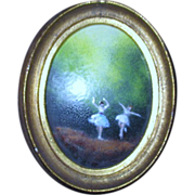 Small Oval Framed Enameled Painting on Metal of 2 Ballerinas