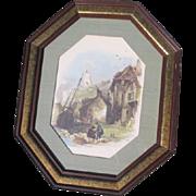 Framed Octagonal European Port Scene