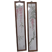 Pair of Japanese Framed Hand Painted Tiles
