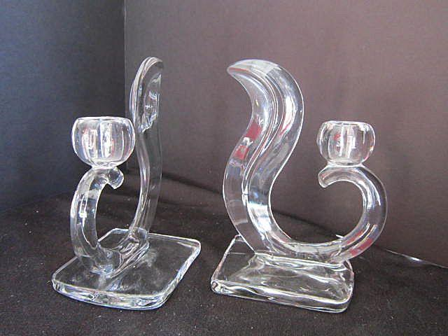 Vintage Glass Candle Holder Set of 2