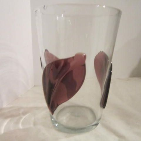 Vintage Art Glass Vase with Purple Leaves