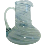 Blue Swirls Art Glass Pitcher with Applied Handle
