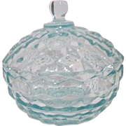 Light Teal Glass Lidded Candy Dish by Indiana Glass