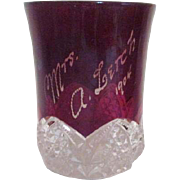 Antique Duncan and Miller Ruby Flash Drinking Glass Dated 1904