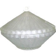 Satin Glass Lidded Candy Dish with Pleated Design