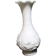 Vintage White Milk Glass Vase with Embossed Roses