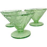 Set of 3 Green Florescent Uranium Glass sherbet Servers Madrid Pattern
