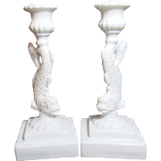 Pair of Two Milk Glass Fish Candleholders Imperial Glass