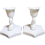 Pair of Westmoreland Milk Glass Fish Candleholders