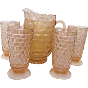 Pitcher and 4 Iced Tea Glasses Whitehall by Colony Peach Shade