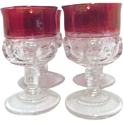 Set of 4 Kings Crown Wine Goblets