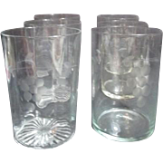 Set of 5 Etched Crystal Juice Glasses
