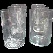 Set of 5 Etched Crystal Juice Glasses