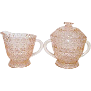 Jeannette Glass Holiday Pink Covered Sugar Bowl and Creamer 1947-49