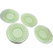 Set of 4 Green Glass Hocking Block Luncheon Plates