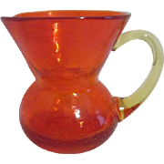 Orange-Red Crackle Glass Miniature Pitcher