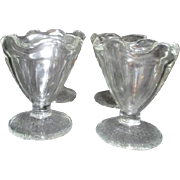 Set of 4 Clear Glass Sundae Servers with Crosshatch Design on Base from Mexico