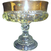 King's Crown Indiana Glass Clear Compote with Gold Flash Border
