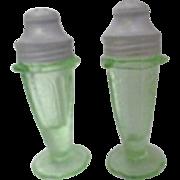 Green Depression Style Glass Salt & Pepper Shakers