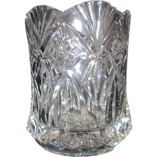 Heavy Crystal Vase with Cut Stars