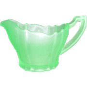 Florescent Uranium Green Satin Glass Creamer