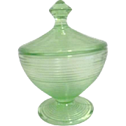 Florescent Uranium Green Glass Lidded Bowl
