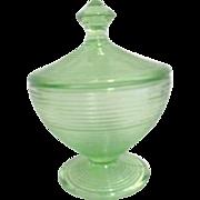 Florescent Uranium Green Glass Lidded Bowl