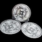 Set of Three Acid Etched Fostoria Dessert Plates Romance Pattern