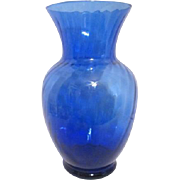 Royal Blue Glass Vase with Swirling Lines