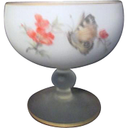 Satin Glass Footed Bowl by Bravo from Italy with Butterflies and Flowers
