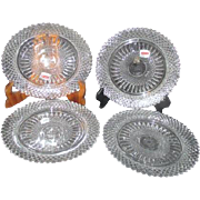 Set of 4 Fostoria Heavy Lead Crystal Plates Salad or Dessert