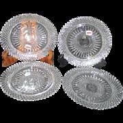Set of 4 Fostoria Heavy Lead Crystal Plates Salad or Dessert