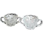 Pair of Matching Crystal Press Cut Sugar Bowls