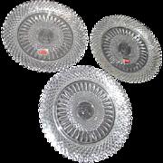 Set of 3 Fostoria Heavy Lead Crystal Salad or Dessert Plates