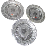 Set of 3 Fostoria Heavy Lead Crystal Salad or Dessert Plates