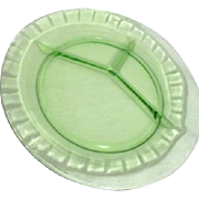 Florescent Uranium Green Glass Divided Dinner Plate