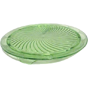 Florescent Uranium Green Glass Footed Cake Plate