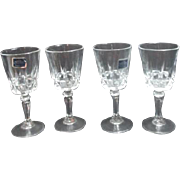 Set of 4 Lady Victoria Chantelle Pattern Cordial Crystal Glasses From France in Original Box