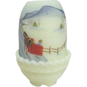 Fenton Custard Glass Fairy Light with Signed Christmas Scene