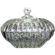 Square Clear Cut Glass Lidded Candy Dish