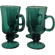 Set of 4 Libbey Tear Drop Juniper Irish Coffee Mugs