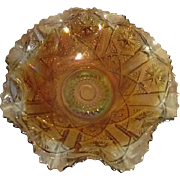 Marigold Carnival Glass Sawtoothed Ruffled Edges Bowl