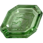Heavy Clear Green Glass Ash Tray/Candy Dish with Iris