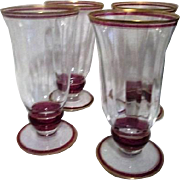 "Set of Four 6"" High Panneled Water Goblets"