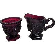 Avon Ruby Red Cape Cod Creamer and Sugar Bowl