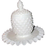 Fenton White Hobnail Milk Glass Jelly Set
