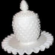 Fenton White Hobnail Milk Glass Jelly Set