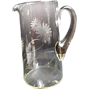 Clear Glass Pitcher with Etched Daisies