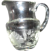 Small Crystal Pitcher with Acid Etched Roses