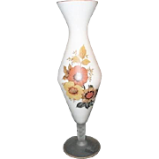 White Satin Glass Footed Vase by Bravo Of Italy with Autumn Flowers